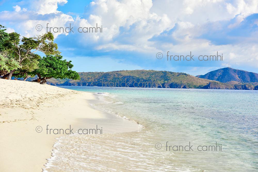 white sand beach of coron island in Palawan Philippines