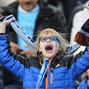Young NYCFC fans in action during the New York City FC Vs Orlando City, MSL regular season football match at Yankee Stadium, The Bronx, New York,  USA. 18th March 2016. Photo Tim Clayton