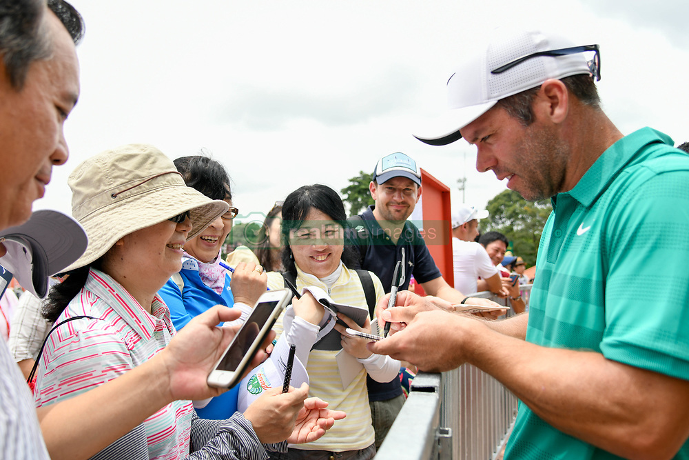October 12, 2018 - Kuala Lumpur, Malaysia - Paul Casey of England signing his fans after the game on first round of the CIMB Classic at TPC Kuala Lumpur on 12 October, 2018 in Kuala Lumpur, Malaysia  (Credit Image: © Chris Jung/NurPhoto via ZUMA Press)