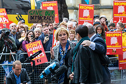 © Licensed to London News Pictures. 24/09/2019. London, UK. Anna Soubry speaks outside the Supreme Court in London alongside Caroline Lucas and Ian Blackford after judges ruled that Prime Minister Boris Johnson's suspension of Parliament was unlawful. Photo credit: Rob Pinney/LNP