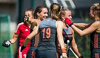St.-Job-In 't Goor / Antwerpen -  Nederland Jong Oranje Dames (JOD) - Groot Brittannie (7-2).  Nederland heeft gescoord. links Ginella Zerbo (Ned). COPYRIGHT  KOEN SUYK
