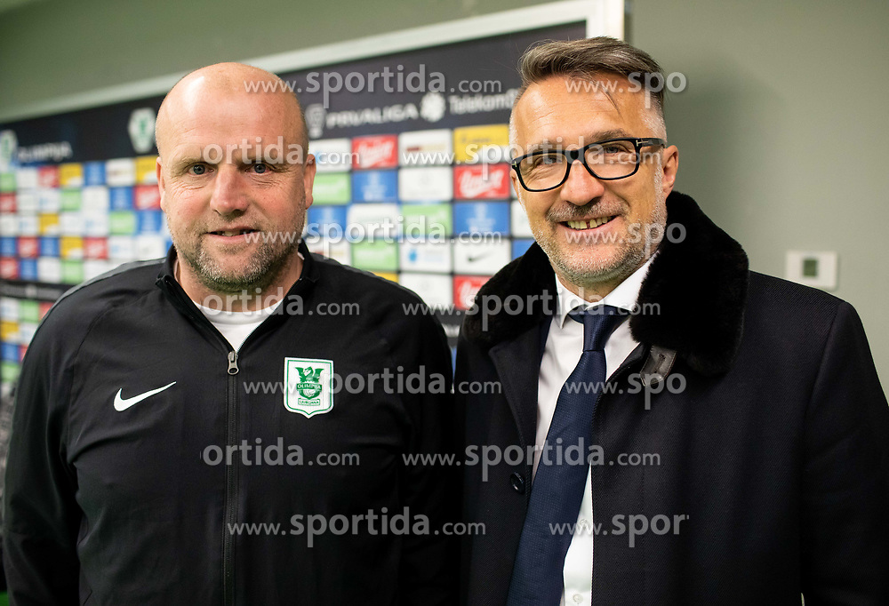 Robert Pevnik and Fabijan Komljenović during press conference of NK Olimpija Ljubljana before spring season of Prva Liga Telekom Slovenije 2018/19, on February 21, 2019 in SRC Stozice, Ljubljana, Slovenia. Photo by Vid Ponikvar / Sportida
