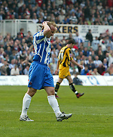 Photo: Andrew Unwin.<br />Hartlepool United v Port Vale. Coca Cola League 1. 06/05/2006.<br />Hartlepool's Thomas Butler rues a missed opportunity for his team to score.