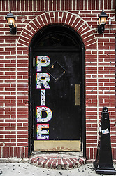 August 6, 2017 - New York City, New York, United States of America - A door at the historic Stonewall Inn with ''Pride'' on it. (Credit Image: © Sachelle Babbar via ZUMA Wire)