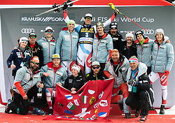 Winner ZENHAEUSERN Ramon of Switzerland and his team celebrate at trophy ceremony after the Audi FIS Alpine Ski World Cup Men's Slalom 58th Vitranc Cup 2019 on March 10, 2019 in Podkoren, Kranjska Gora, Slovenia. Photo by Matic Ritonja / Sportida
