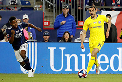 May 15, 2019 - Foxborough, MA, U.S. - FOXBOROUGH, MA - MAY 15: Chelsea FC defender Davide Zappacosta (21) looks inside as New England Revolution midfielder DeJuan Jones (24) recovers during the Final Whistle on Hate match between the New England Revolution and Chelsea Football Club on May 15, 2019, at Gillette Stadium in Foxborough, Massachusetts. (Photo by Fred Kfoury III/Icon Sportswire) (Credit Image: © Fred Kfoury Iii/Icon SMI via ZUMA Press)