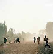 Locals in dusty street at Lalibela, Ethiopia.