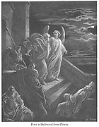 St. Peter Delivered From Prison [Acts 12:7-8] From the book 'Bible Gallery' Illustrated by Gustave Dore with Memoir of Dore and Descriptive Letter-press by Talbot W. Chambers D.D. Published by Cassell & Company Limited in London and simultaneously by Mame in Tours, France in 1866