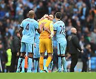 Manchester City's Pablo Zabaleta congratulates Joe Hart at the final whistle<br /> <br /> - Barclays Premier League - Manchester City vs Manchester Utd - Etihad Stadium - Manchester - England - 2nd November 2014  - Picture David Klein/Sportimage