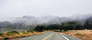 Fog drifts across the pastoral hills and countryside of Mendocino County, California