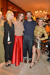 Left to right, LAURA WHITMORE, LOUISE ROE, PATRICK GRANT and ASHLEY ROBERTS at a party to celebrate the publication of Front Roe by Louise Roe held at Ralph Lauren, 1 New Bond Street, London on 1st April 2015.