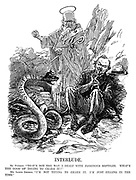 """Interlude. St Patrick. """"That's not the way I dealt with poisonous reptiles. What's the good of trying to charm it?"""" Mr Lloyd George. """"I'm not trying to charm it. I'm just filling in the time."""" (Prime Minister David Lloyd George plays a flute to a Sinn Fein snake wearing a German helmet during WW1)"""