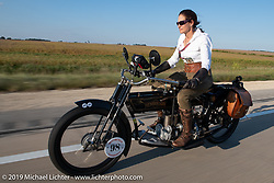 Andrea Labarbara of Foxboro, MA riding her 1913 Henderson. (Her other transportation is made by Airbus!) Motorcycle Cannonball coast to coast vintage run. Stage 6 (260 miles) from Bourbonnais, IL to Cedar Rapids, IA. Thursday September 13, 2018. Photography ©2018 Michael Lichter.