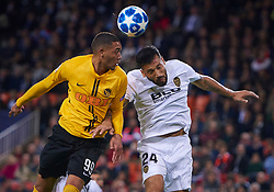November 7, 2018 - Valencia, U.S. - VALENCIA,  - NOVEMBER 07: Guillaume Hoarau, forward of BSC Young Boys competes for the ball with Ezequiel Garay, defender of Valencia CF during the UEFA Champions League group stage H football match between Valencia CF and BSC Young Boys at Mestalla Stadium on November 07, 2018, in Valencia, Spain. (Photo by Carlos Sanchez Martinez/Icon Sportswire) (Credit Image: © Carlos Sanchez Martinez/Icon SMI via ZUMA Press)