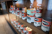 The lobby of Hotel Indigo along East Washington Avenue features gallons of Mautz paint on display in Madison, WI on Wednesday, April 17, 2019.