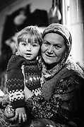 A woman with a a child at the Varazdin refugee camp in Croatia in the winter of 1992.