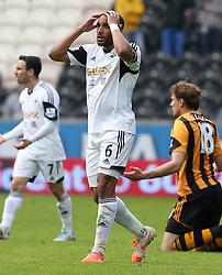 Swansea's Ashley Williams shows his frustration - Photo mandatory by-line: Matt Bunn/JMP - Tel: Mobile: 07966 386802 05/04/2014 - SPORT - FOOTBALL - KC Stadium - Hull - Hull City v Swansea City- Barclays Premiership