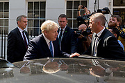 On the day that the Conservative Party elects its leader and the countrys Prime Minister, Boris Johnson gets into his car to drive to the QE2 Centre nearby for the election result, on 23rd July 2019, in Westminster, London, England.