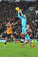 Burnley goalkeeper Thomas Heaton takes ball during the Sky Bet Championship match between Hull City and Burnley at the KC Stadium, Kingston upon Hull, England on 26 December 2015. Photo by Ian Lyall.