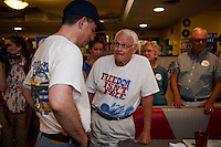 Senator Scott Walker at Route 104 Diner in New Hampton during the Walker Harley Tour.  Karen Bobotas for the Laconia Daily Sun