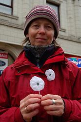 White poppy for peace; Armistice Day; Whitley Bay; Tyneside Nov 2006 UK