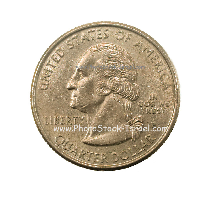 US one Quarter Dollar coin (25 cents) isolated on white background