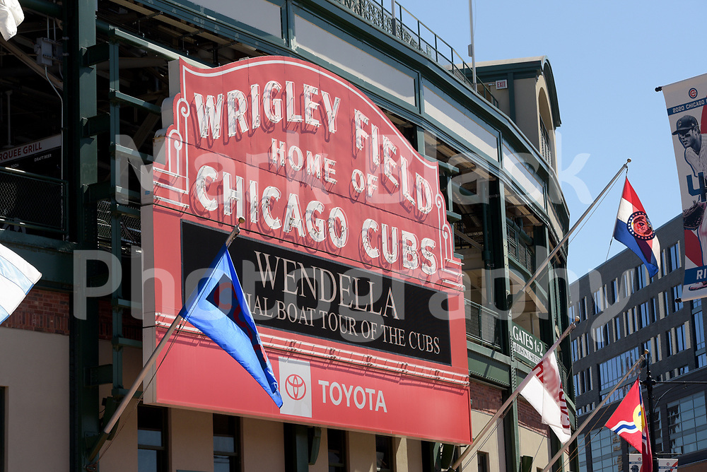 The historic Wrigley Field marquee and home to the Chicago Cubs baseball team in Chicago, Illinois on Friday, Sept. 4, 2020. Photo by Mark Black