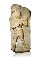 Relief of God of War. Limestone, Kings Gate, Hattusa ( Bogazkoy ). 14th - 13th Century BC. Anatolian Civilisations Museum, Ankara, Turkey.<br /> <br /> The warrior depicted in high relief is dressed in a decorated skirt. The relief takes place on the interior part of the King's gate facing city, to the east of the city walls. He carries a crescent-handled short sword in his belt. The relief is identified as god depiction since the horns on the headdress are the indication of a god.  <br /> <br /> Against a white background..<br />  <br /> If you prefer to buy from our ALAMY STOCK LIBRARY page at https://www.alamy.com/portfolio/paul-williams-funkystock/hittite-art-antiquities.html  - Type Anatolian Museum into the LOWER SEARCH WITHIN GALLERY box. Refine search by adding background colour, place, museum etc<br /> <br /> Visit our HITTITE PHOTO COLLECTIONS for more photos to download or buy as wall art prints https://funkystock.photoshelter.com/gallery-collection/The-Hittites-Art-Artefacts-Antiquities-Historic-Sites-Pictures-Images-of/C0000NUBSMhSc3Oo