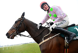 Getabird and jockey Paul Townend celebrate winning the Rathbarry & Glenview Studs Novice Hurdle during BoyleSports Irish Grand National Day of the 2018 Easter Festival at Fairyhouse Racecourse, Ratoath, Co. Meath.