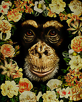 Give yourself a boost of flower power with this charming, sweet portrait of a monkey. Surrounded by flowers, you can see the sparkle of kindness, or perhaps a little mischief, in the eyes of this beautiful animal. There is something a little funny about that smile, but we can't help but love this illustration anyway. –<br />