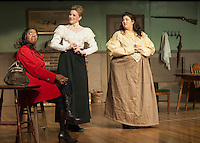"""Jane Adams/Saphaedra Renee has second thoughts about taking the nurses position as she is greeted by Azabella/Valerie Lake and Hepzibah Saltmarsh/Vanessa Alfonso at Ye Olde Wayside Inn during dress rehearsal for """"It Was a Dark and Stormy Night"""" with the Streetcar Company on Tuesday evening.  (Karen Bobotas/for the Laconia Daily Sun)"""