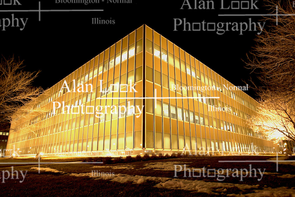 08 December 2008:  State Farm Corporate Headquarters in Bloomington Illinois lights up it's building every holiday season. This image is an HDR (High Dynamic Range) composite and should be captioned as a Photo Illustration if used for editorial purposes.