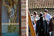 Little Walsingham, Norfolk, England, 08/04/2007..Roman Catholic pilgrims at the Shrine of Our Lady of Walsingham on Easter Sunday. Pilgrims of various Christian denominations on Easter Saturday at one of Britain's oldest and most important centres of pilgrimage..
