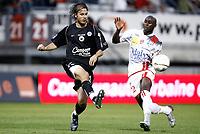 Fotball<br /> Frankrike<br /> Foto: Dppi/Digitalsport<br /> NORWAY ONLY<br /> <br /> FOOTBALL - FRENCH CHAMPIONSHIP 2007/2008 - L1 - AS NANCY LORRAINE v SM CAEN - 11/08/2007 - KARL SVENSSON (CAEN) / MARC ANTOINE FORTUNE (NAN)