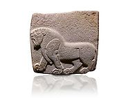 Aslantepe Hittite relief sculpted orthostat stone panel. Limestone, Aslantepe, Malatya, 1200-700 BC. Anatolian Civilisations Museum, Ankara, Turkey. Depiction of a horse walking.<br /> <br /> Against a white background.<br /> <br /> If you prefer to buy from our ALAMY STOCK LIBRARY page at https://www.alamy.com/portfolio/paul-williams-funkystock/hittite-art-antiquities.html . Type - Aslantepe - in LOWER SEARCH WITHIN GALLERY box. Refine search by adding background colour, place, museum etc.<br /> <br /> Visit our HITTITE PHOTO COLLECTIONS for more photos to download or buy as wall art prints https://funkystock.photoshelter.com/gallery-collection/The-Hittites-Art-Artefacts-Antiquities-Historic-Sites-Pictures-Images-of/C0000NUBSMhSc3Oo