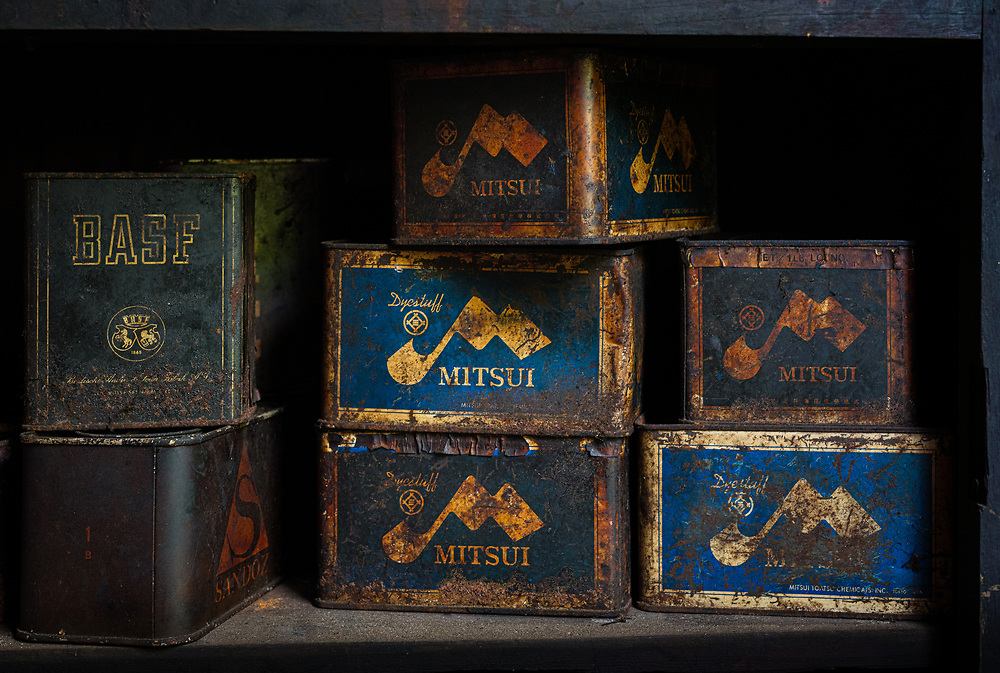 INLE LAKE, MYANMAR - CIRCA DECEMBER 2017: Set of old metalic boxes in a handicraft store of a small village in Inle Lake