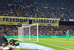 May 6, 2018 - Barcelona, Catalonia, Spain - Banner ask the independence of Catalonia during the match between FC Barcelona v Real Madrid, for the round 36 of the Liga Santander, played at Camp nou  on 6th May 2018 in Barcelona, Spain. (Credit Image: © Urbanandsport/NurPhoto via ZUMA Press)