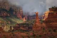 Sunrise, fog, Kachina Woman, Boynton Canyon, Coconino National Forest, Red Rock-Secret Mountain Wilderness, Sedona, Arizona