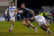 Sale Sharks wing Byron McGuigan breaks past Bath Rugby's centre Josh Matavesi during a Gallagher Premiership Round 9 Rugby Union match, Friday, Feb 12, 2021, in Leicester, United Kingdom. (Steve Flynn/Image of Sport)