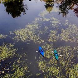 Kayakers on Pennesseewassee Lake in Norway, Maine,