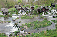 Old wooden watermills between the two Pliva Lakes on the River Pliva, near Jajce, Bosnia and Herzegovina © Rudolf Abraham