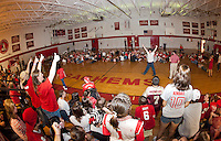 The senior class managed to spell out LEADERSHIP during the two minute time period during LHS Homecoming Pep Rally Friday afternoon.  (Karen Bobotas/for the Laconia Daily Sun)