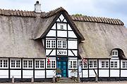 Vester Skerninge Kro, an ancient 18th Century inn half-timbered thatched hotel on Funen, Denmark