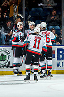 KELOWNA, BC - MARCH 7: Matthew Wedman #20, Jake Lee #21, Kaedan Korczak #6 and Pavel Novak #11 of the Kelowna Rockets celebrate a first period goal against the Lethbridge Hurricanes at Prospera Place on March 7, 2020 in Kelowna, Canada. Wedman was selected in the 2019 NH entry draft by the Florida Panthers. (Photo by Marissa Baecker/Shoot the Breeze)