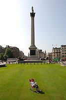 """Visit London turns Trafalgar square green to promote """"village London"""" transforming the square with 2000meters of Turf."""
