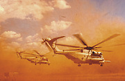 A Marine CH-53E helicopter from the 464th Alpha Company blows sand and rocks as it takes off in Harar, Ethiopia, Nov. 20, 2005.