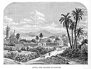 Jenin, the ancient En-gannim From the book 'Those holy fields : Palestine, illustrated by pen and pencil' by Manning, Samuel, 1822-1881; Religious Tract Society (Great Britain) Published in 1874