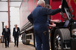 Conservative party leader Theresa May, walks with depot owner Andrew Black during a visit to his haulage company in North Berwick, East Lothian, during her party's campaign trail for the General Election, after attending the Scottish Conservatives manifesto launch at the Edinburgh International Conference Centre.