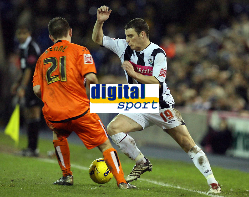 Photo: Rich Eaton.<br /> <br /> West Bromwich Albion v Luton Town. Coca Cola Championship. 12/01/2007. Jason Koumas #19 of West Brom takes on Lutons Keith Keane