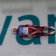 Winter Olympics, Vancouver, 2010.Ian Cockerline, Canada, in action during the Luge Men's Singles training run at The Whistler Sliding Centre, Whistler, during the Vancouver  Winter Olympics. 10th February 2010. Photo Tim Clayton